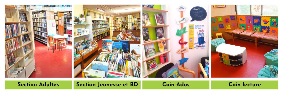 Photos de la bibliothèque de Froidmont : la section Adultes, la section Jeunesse et BD, la section Ados et le coin lecture